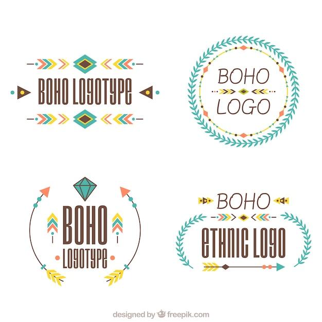 Flache auswahl der ethnischen logos Kostenlosen Vektoren
