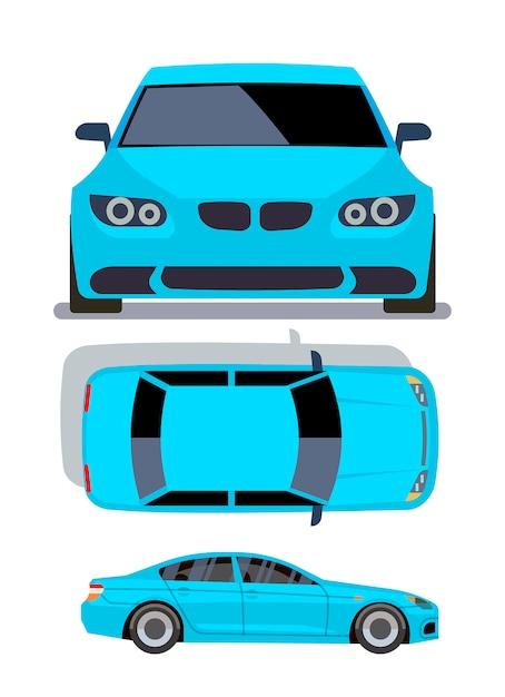 Flache autos des vektors in verschiedenen ansichten. blaue limousinenautofront-, spitzen- und seitenansichtillustration Premium Vektoren