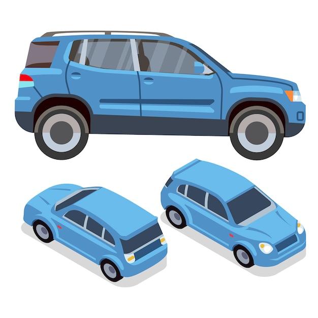 Flache autos des vektors in verschiedenen ansichten. blauer suv. blaue automobilillustration des autotransportes Premium Vektoren