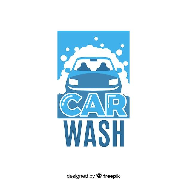 Flache autowäsche logo hintergrund Kostenlosen Vektoren