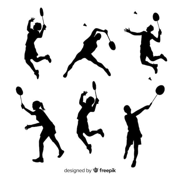 Flache badmintonspieler-schattenbildsammlung Kostenlosen Vektoren