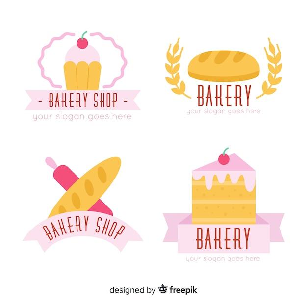Flache bäckerei-logo-pack Kostenlosen Vektoren