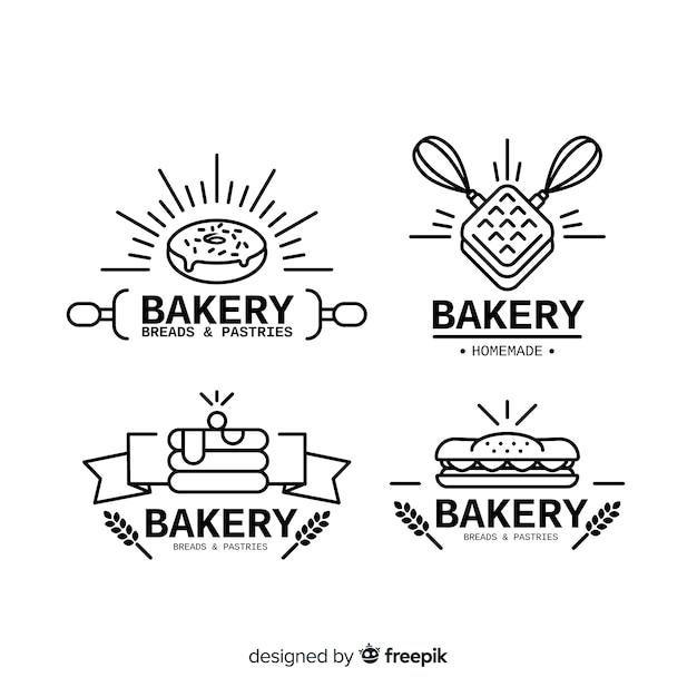 Flache bäckerei logo vorlage Premium Vektoren
