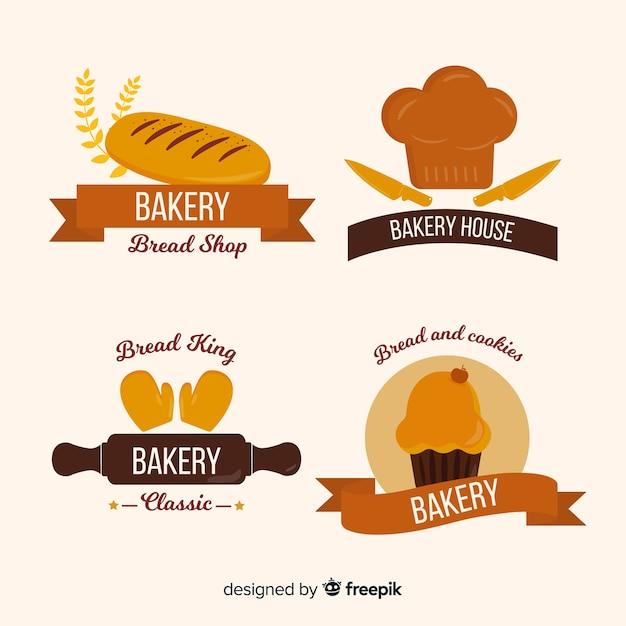 Flache bäckerei logos Kostenlosen Vektoren
