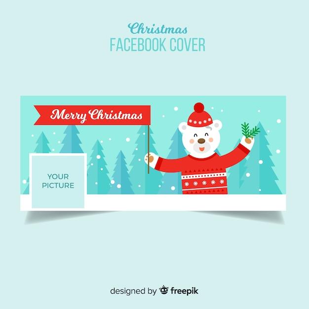 Flache bärenweihnachten facebook-abdeckung Kostenlosen Vektoren