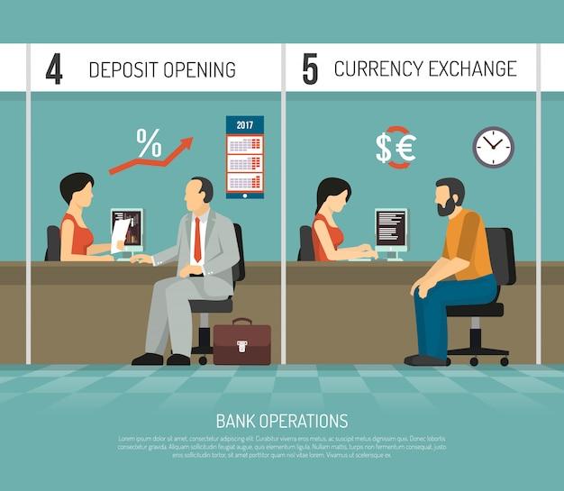 Flache bank illustration Kostenlosen Vektoren