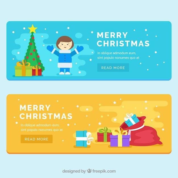 flache banner mit jungen und weihnachtsgeschenke. Black Bedroom Furniture Sets. Home Design Ideas