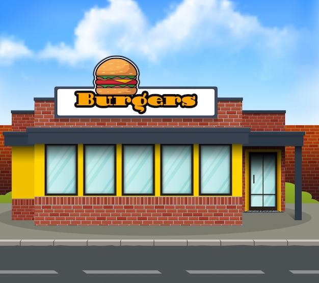 Flache bauform burger-ladenfront Premium Vektoren