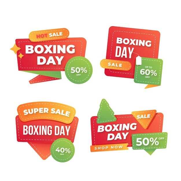 Flache boxing day sale label sammlung Kostenlosen Vektoren