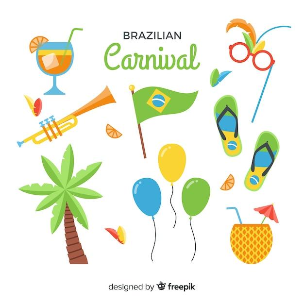 Flache brasilianische karneval elemente gesetzt Kostenlosen Vektoren