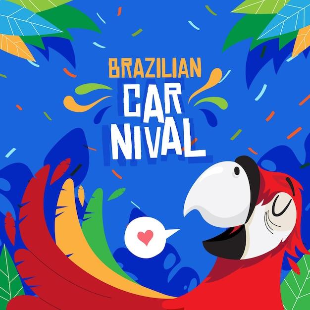 Flache brasilianische karnevalsillustration Kostenlosen Vektoren