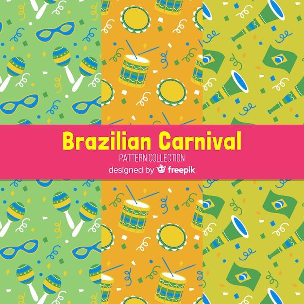 Flache brasilianische karnevalsmuster Kostenlosen Vektoren
