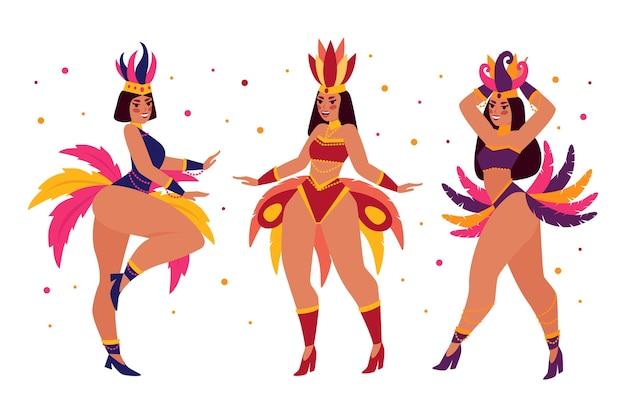 Flache brasilianische karnevalstänzersammlung Premium Vektoren