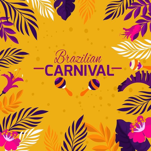 Flache brasilianische karnevalsvegetation Kostenlosen Vektoren
