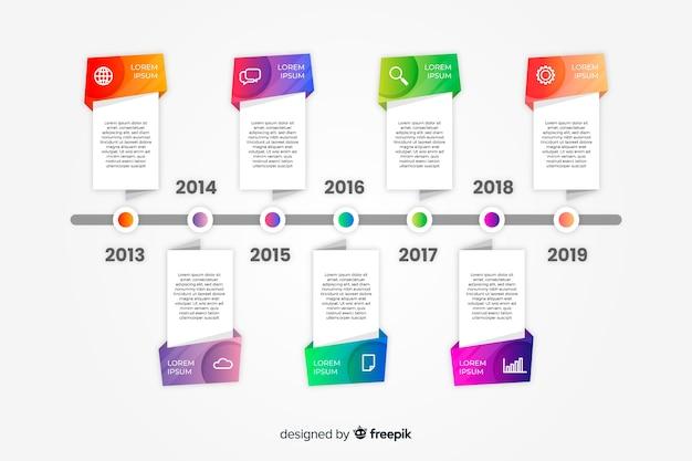 Flache bunte farbverlauf timeline infografiken Kostenlosen Vektoren