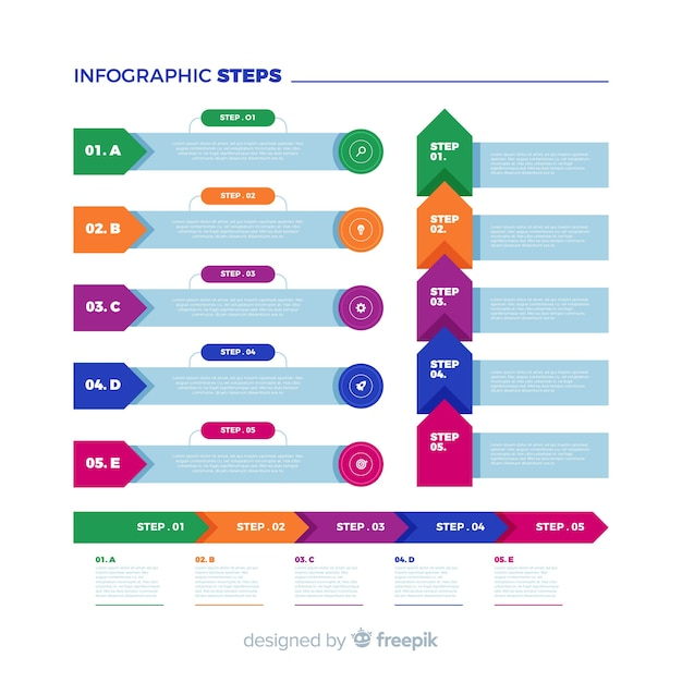 Flache bunte infographic schrittsammlung Kostenlosen Vektoren
