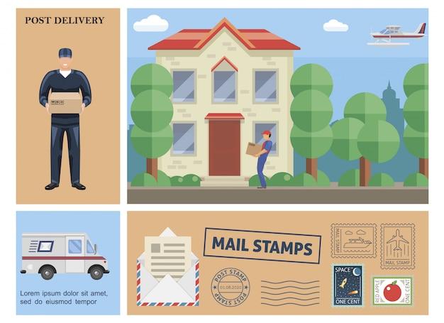 Flache bunte postdienstzusammensetzung mit briefträger-haltekastenkurier, der paket an kunden-van-float-flugzeugpostmarken liefert Kostenlosen Vektoren