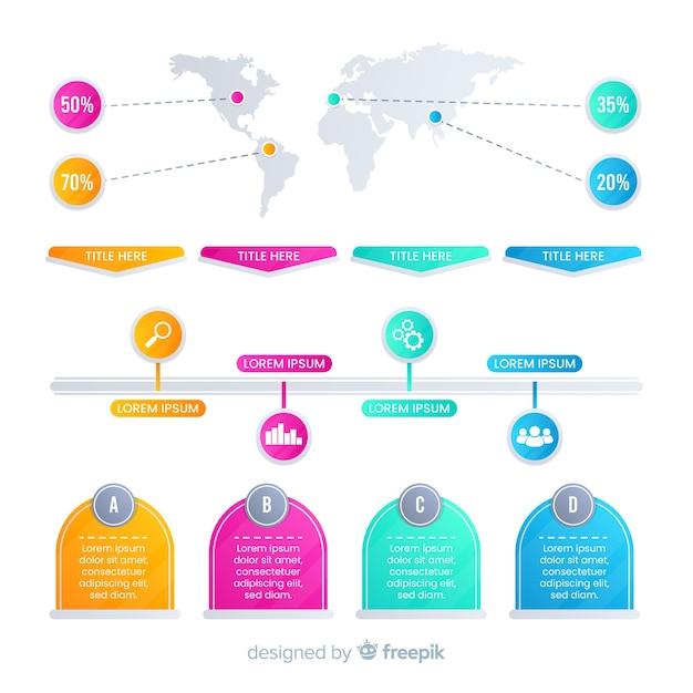 Flache bunte steigung infografiken elemente Kostenlosen Vektoren