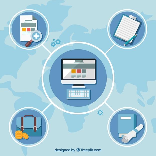 Flache business-diagramm-vorlage Kostenlosen Vektoren