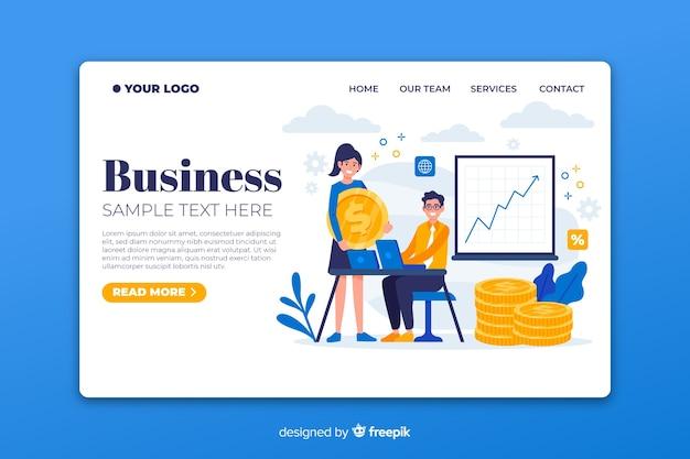 Flache business-landing-page-vorlage Kostenlosen Vektoren