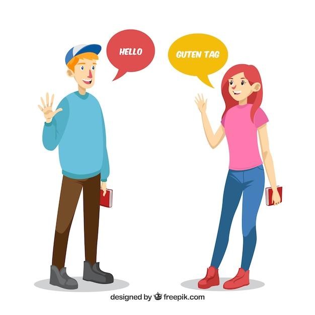 Flache charaktere, die verschiedene sprachen sprechen Kostenlosen Vektoren