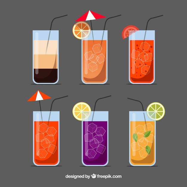 Flache cocktailkollektion Kostenlosen Vektoren