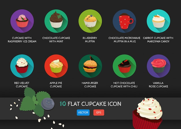 Flache cupcake-sammlung-symbol. Premium Vektoren