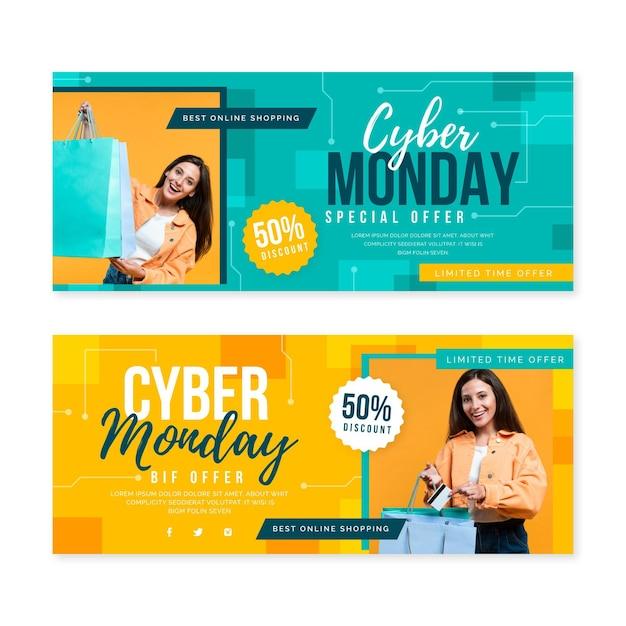 Flache cyber-montag-banner Kostenlosen Vektoren