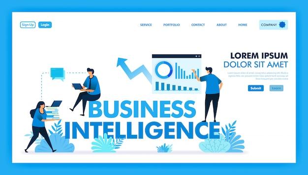 Flache darstellung von bi oder business intelligence zur erleichterung von unternehmen. Premium Vektoren