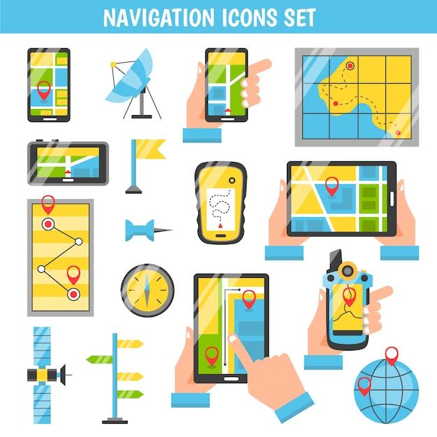 Flache dekorative ikonen der navigation Kostenlosen Vektoren