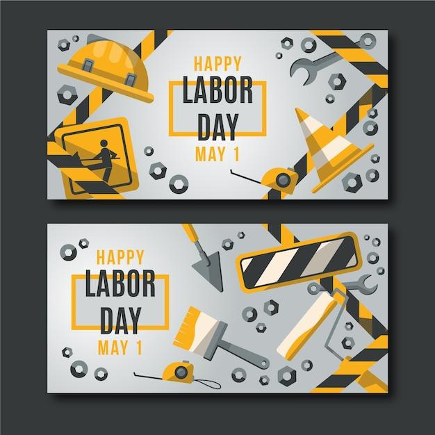 Flache design arbeitstag banner vorlage Kostenlosen Vektoren