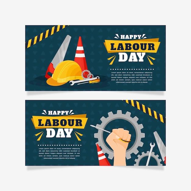 Flache design arbeitstag banner Kostenlosen Vektoren