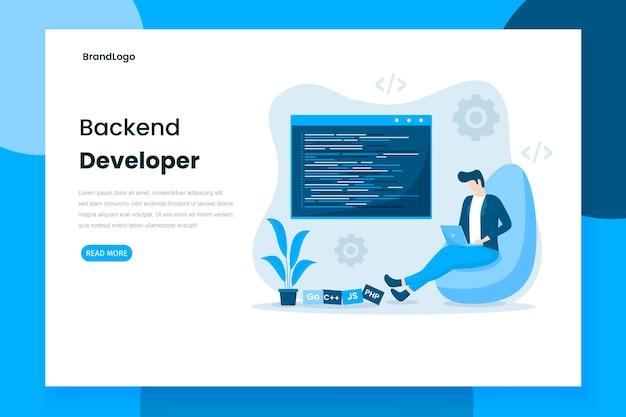 Flache design backend entwickler landing page Premium Vektoren