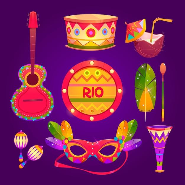 Flache design brasilianische karneval elemente Kostenlosen Vektoren