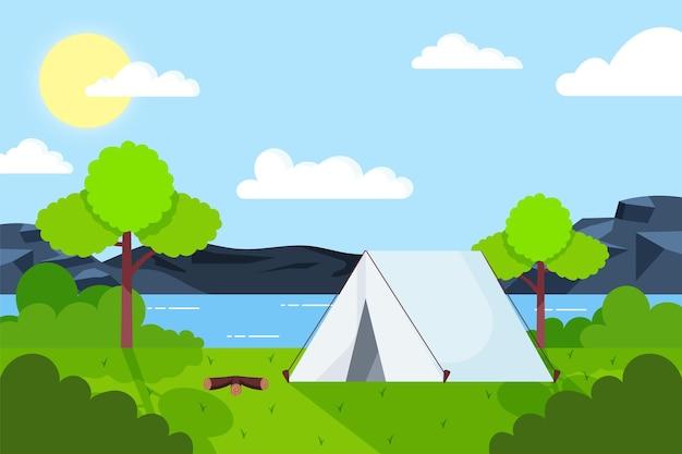 Flache design-campingplatzlandschaft mit zelt und see Kostenlosen Vektoren