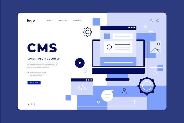Flache design-cms-landingpage-webvorlage Kostenlosen Vektoren