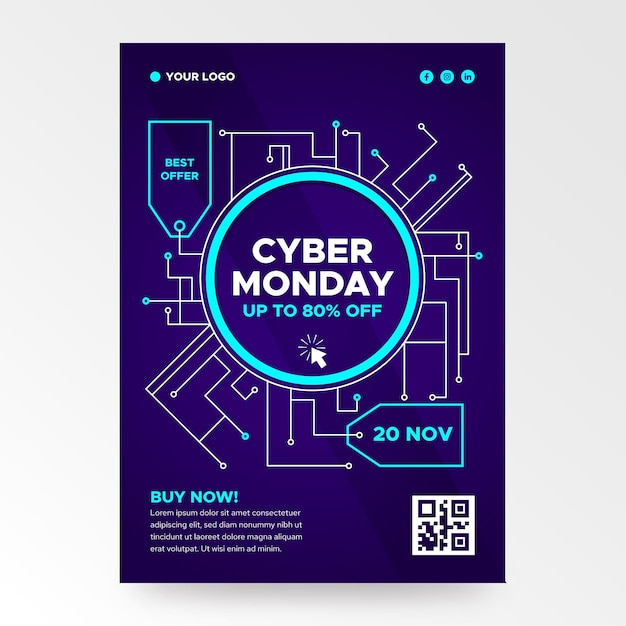 Flache design cyber montag flyer vorlage Kostenlosen Vektoren