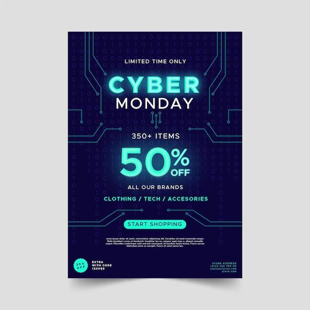 Flache design cyber montag flyer vorlage Premium Vektoren