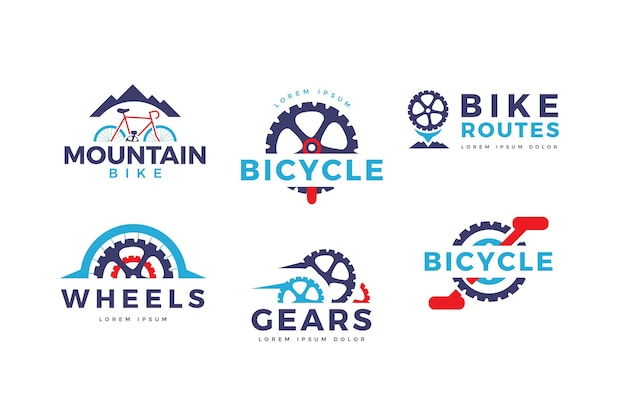 Flache design fahrrad logo sammlung Kostenlosen Vektoren