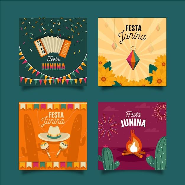 Flache design festa junina kartensammlung Kostenlosen Vektoren