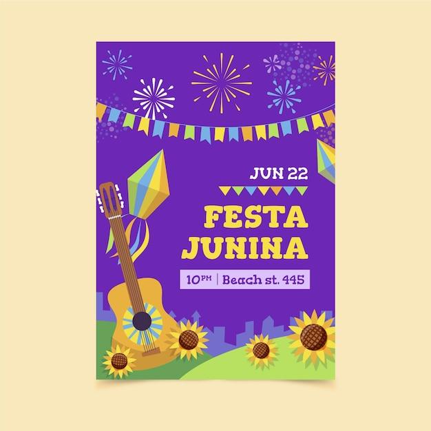 Flache design festa junina plakatschablone Kostenlosen Vektoren