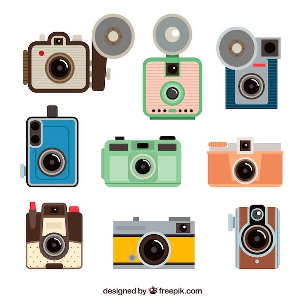 Flache design foto kameras sammlung Kostenlosen Vektoren