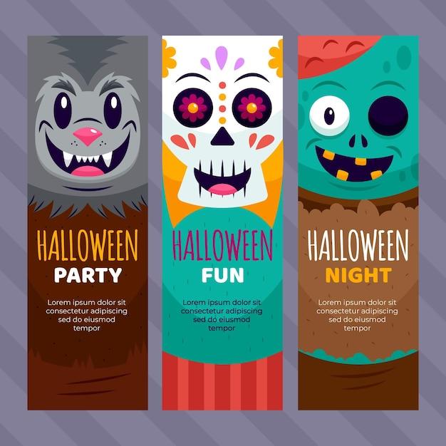 Flache design halloween banner vorlage Kostenlosen Vektoren