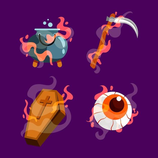 Flache design-halloween-elementkollektion Kostenlosen Vektoren