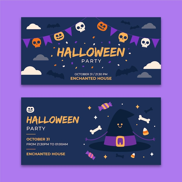 Flache design halloween horizontale banner Kostenlosen Vektoren