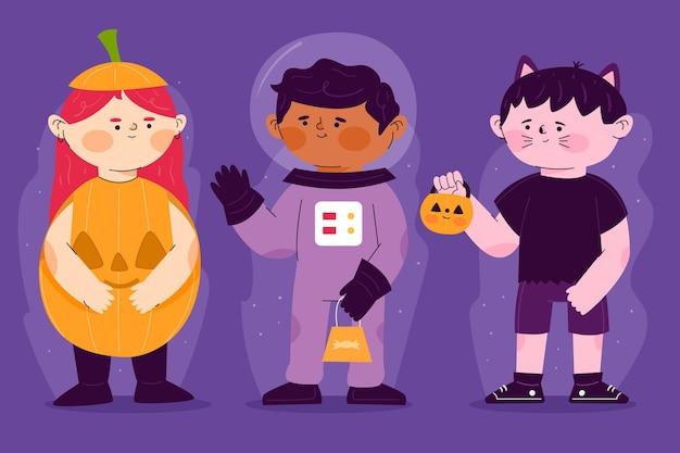Flache design halloween kinder sammlung illustration Kostenlosen Vektoren