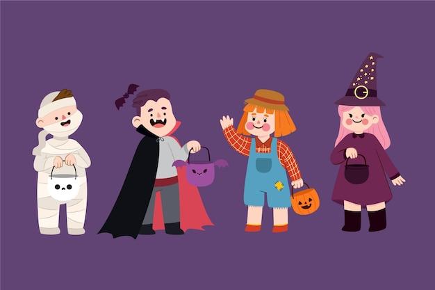 Flache design-halloween-kinderkollektion Kostenlosen Vektoren