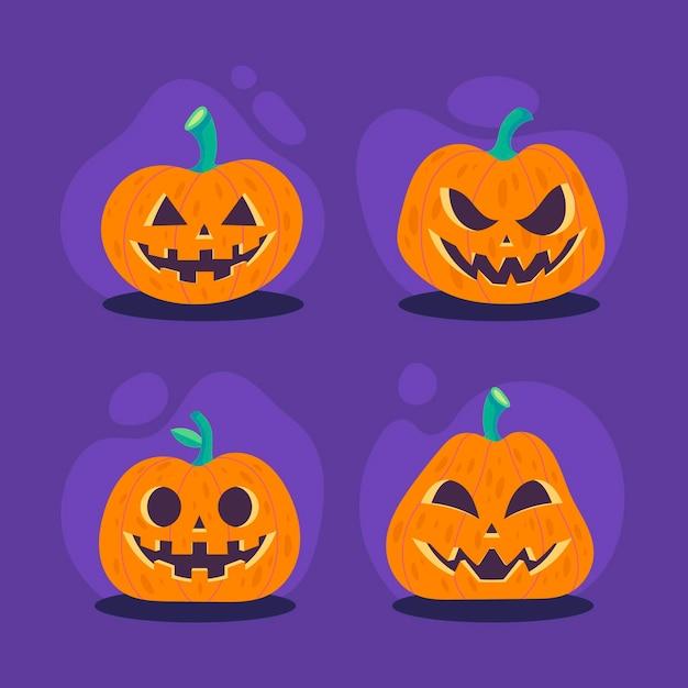 Flache design-halloween-kürbiskollektion Kostenlosen Vektoren