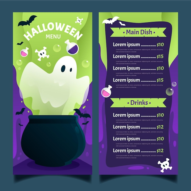 Flache design halloween-menüvorlage Kostenlosen Vektoren