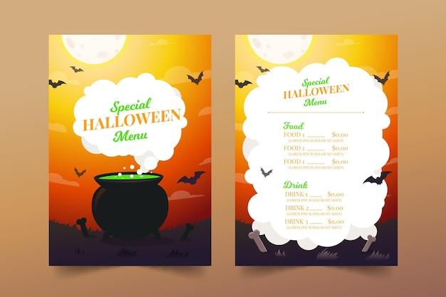 Flache design halloween-menüvorlage Premium Vektoren